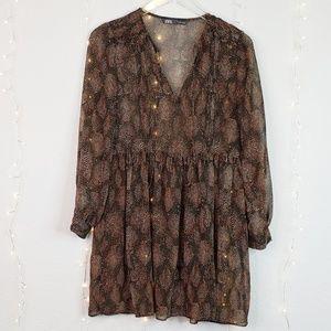 Zara | Sheer Brown Polka Dot Leaf Print Dress